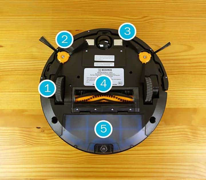 Ecovacs Deebot N79 - cleaning features annotated