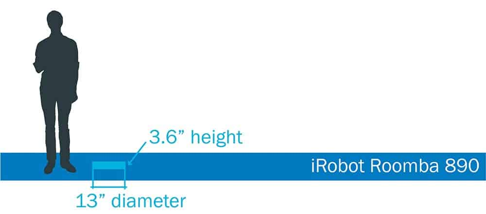 Roomba 890 robot vacuum size and dimensions