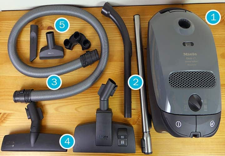 Parts and accessories included with the Miele Compact C1