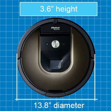 Roomba 980 robot vacuum size and dimensions