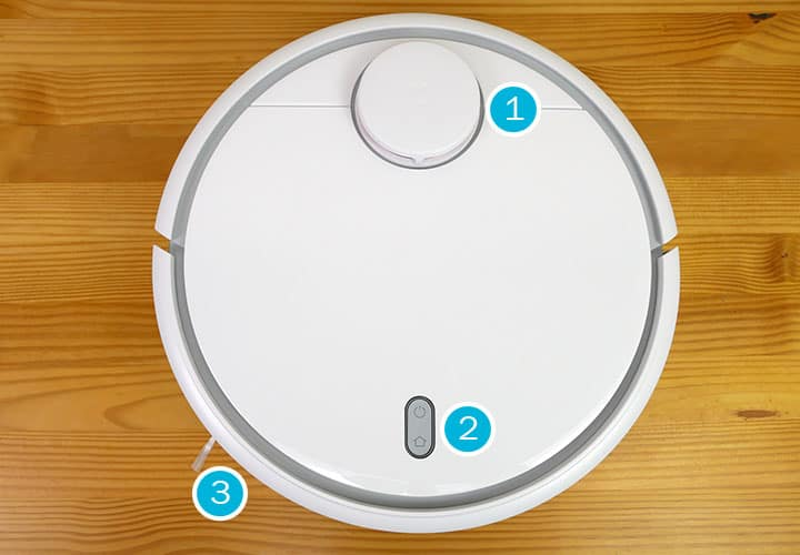 Labeled image of the XIaomi Mi robot vacuum partd