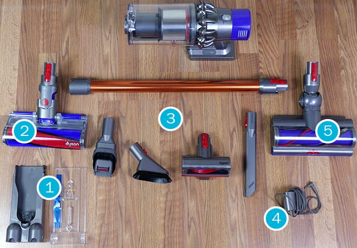 Accessories included with the Dyson V10