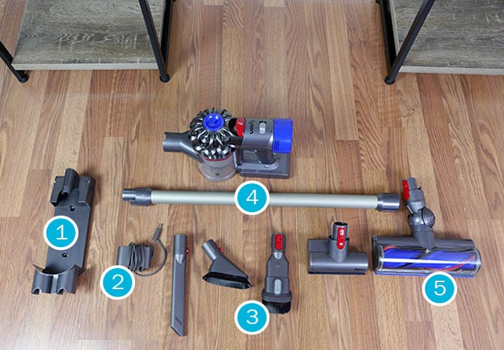 Accessories included with the Dyson V8