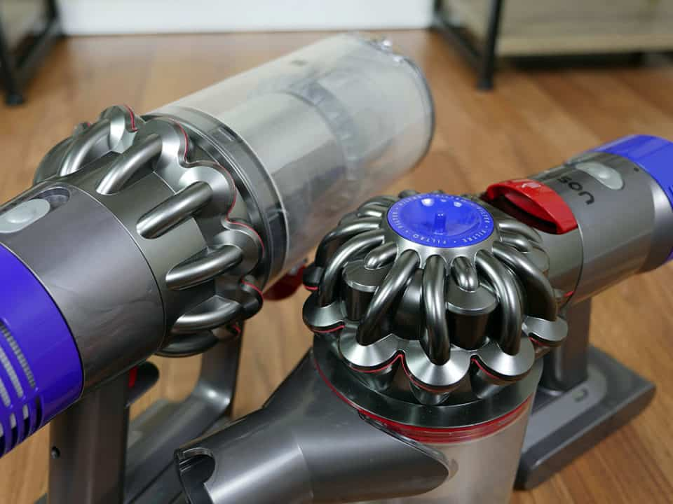 Dyson V8 vs. V10 dust bin canister review
