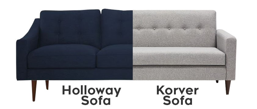Joybird furniture - sofa seat styles