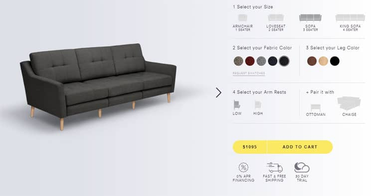 Ordering a burrow couch