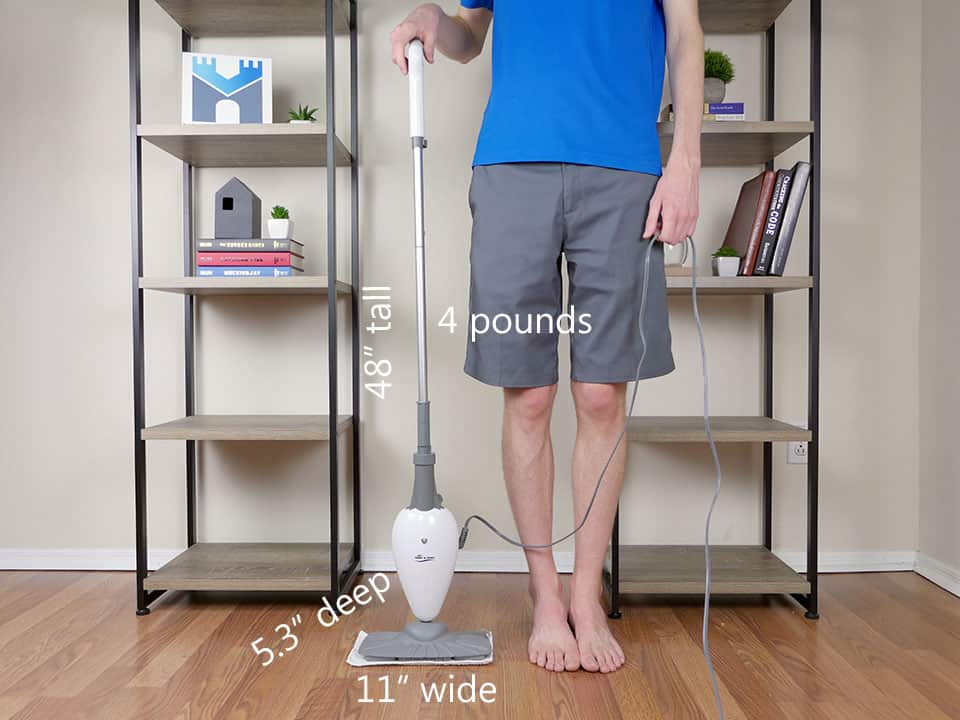 Size and dimensions of the Light and Easy steam mop