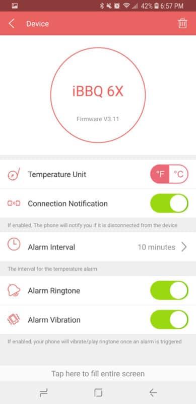 Tenergy Solis thermometer app settings