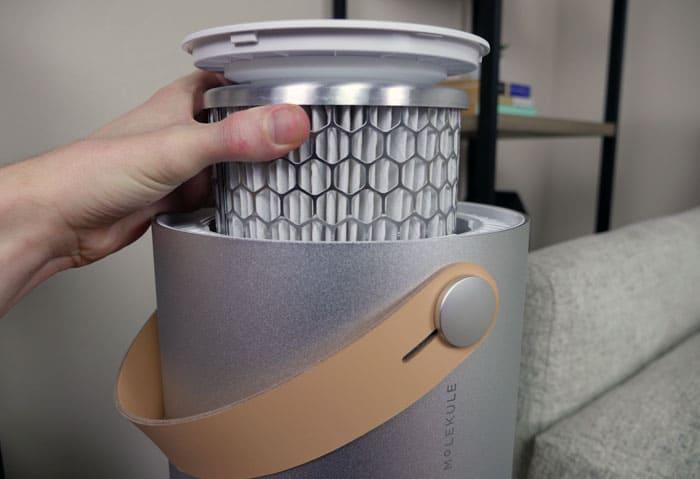 Installing Molekule PECO filter into base of purifier