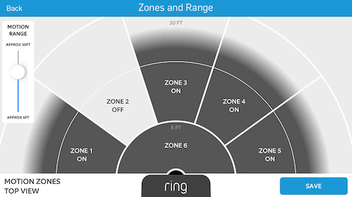 Custom motion zones for the Ring security camera