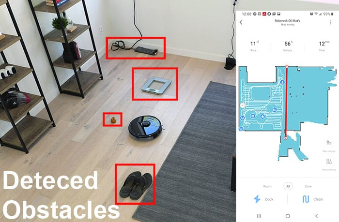 Roborock S6 MaxV obstacle detection