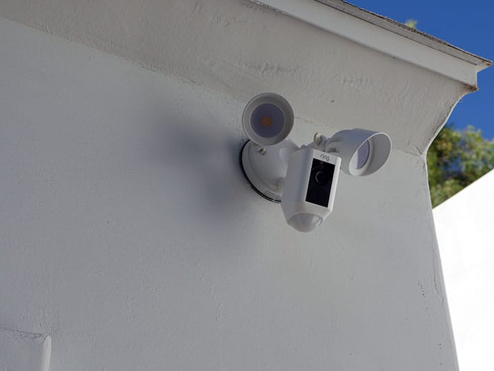 Ring Floodlight camera mounted to garage