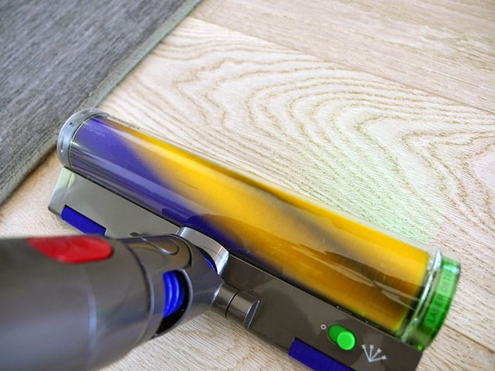 Dyson V15 laser under lit conditions