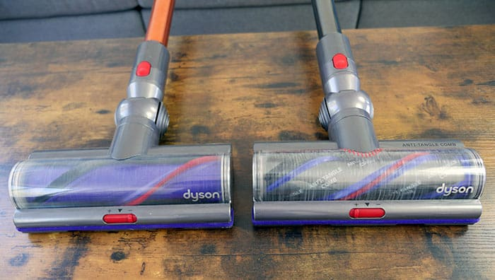 Dyson V10 (left) vs. V15 (right) cleaning heads